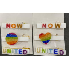 Hair clips infantil Now United branco brilho